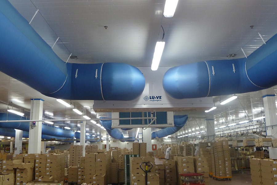 LDC Bourgogne Louhans, France Industrial refrigeration Industrial unit coolers for textile duct application