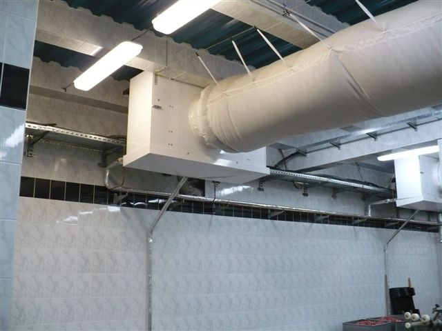 MEAT FACTORY - Podolsk , Moscow - Refrigeration installation -  20 pcs CS50H industrial unit coolers for  textile duct application